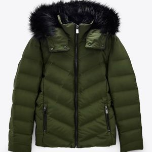 NEW Zara Down-Filled Fur Lined Padded Hooded Coat